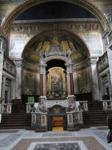 Main Altar of Basilica Santa Prassede with crypt containing remains of Saints Prassede and Pudenzianna  below altar