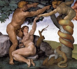 Fall and Expulsion of Adam and Eve Michelangelo Wikimedia Commons