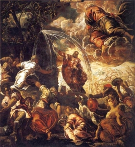 Moses Striking Water from the Rock Tintoretto Wikimedia Commons