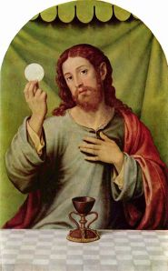 Christ with Eucharist Joan de Joanes Wikimedia Commons